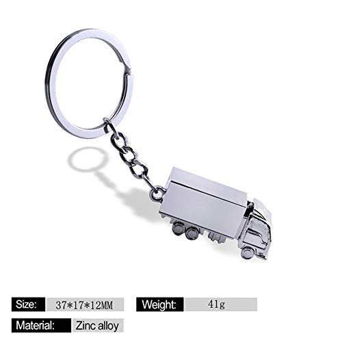 Cute Truck Keyrings Lorry Key Racks Men Car Metal Key Ring Hoops Keyfob Silver 3D Keychains Creative Lovely Key Holders Finder