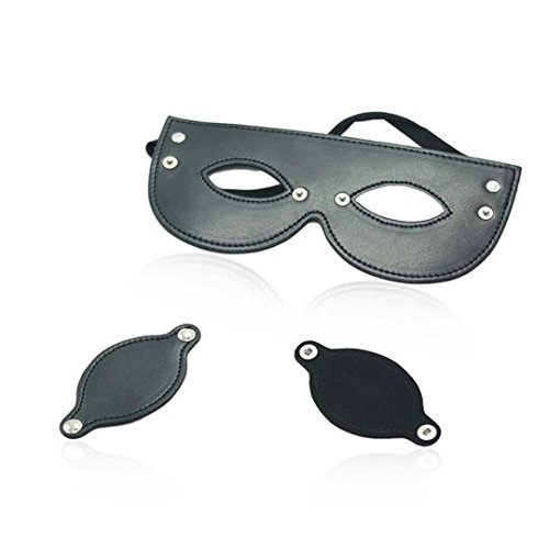 Briviee Leather Blindfold Mask Eye Mask for Halloween Stage Props , Movable Eye (Movable Masks)