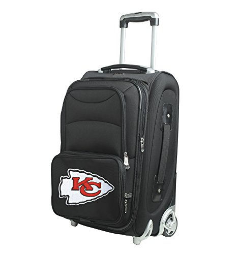 NFL Kansas City Chiefs In-Line Skate Wheel Carry-On Luggage, 21-Inch, Black by Denco