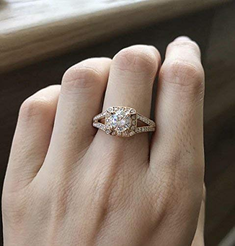 t Ring- Rose Gold Moissanite Ring- Deco Promise Moissanite Ring- Alternative Diamond Engagement Ring- Double Band Ring ()