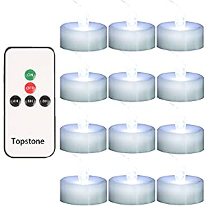 Topstone Remote Controlled LED Tea Light,White Flickering Bulb,Long Lasting Battery Operated LED Votive Candle with Timer,Pack of 12