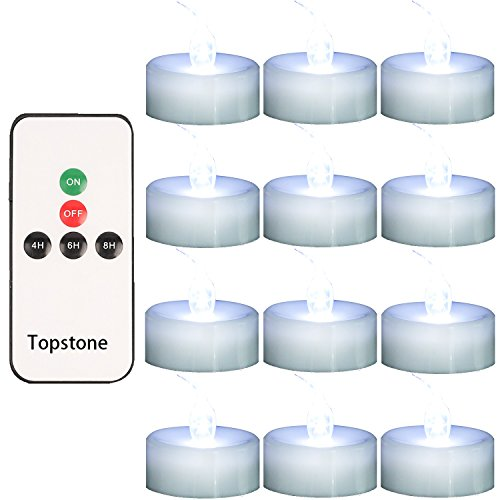 Topstone Remote Controlled LED Tea Light,White Flickering Bulb,Long Lasting Battery Operated LED Votive Candle with Timer,Pack of 12 by Topstone