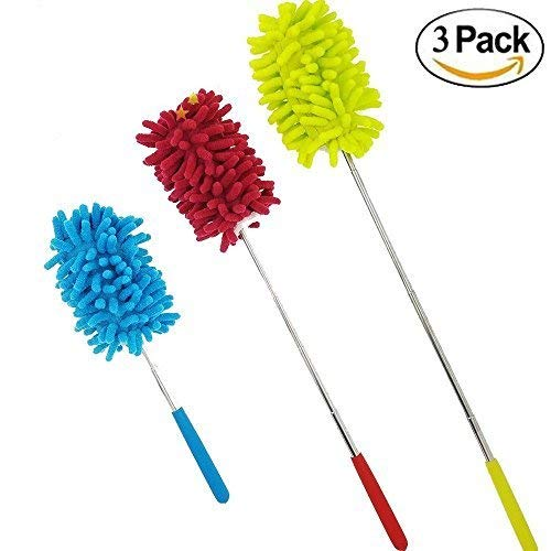 (M-jump Retractable Long-Reach Washable Dusting Brush , Microfiber Hand Duster with Telescoping Pole(set of 3))
