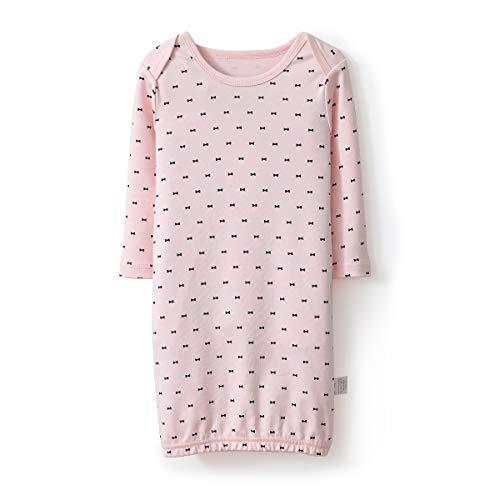 Sleepshirt Neck - Miliport Girl Nightdress Cotton Sleepwear Loose Scoopneck Rouge Neck Nightie Short Nightgowns Knit 3/4 Sleeve Sleepshirts 3-12M(Pink, 80)
