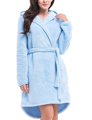 Dn-Nightwear SSK.8045 Bata De Mujer De Manga Larga Y Capucha- Heche En UE azul claro
