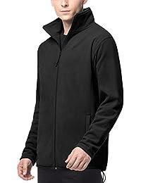 Men's Full Zip Polar Fleece Jacket Windproof Outerwear w Zipper Closure Pockets For Outdoor Sports M33