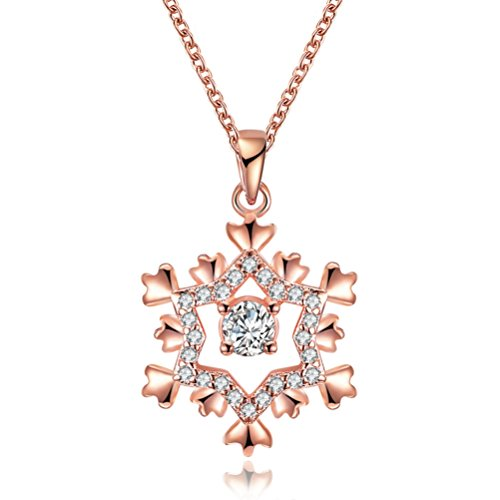 Christmas Gifts for Girls Women's 18K Gold Plated Cute Shinning Big CZ Christmas Snow Pendant Necklaces 18'' - - Mean Costume Girls Ideas