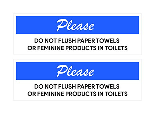 Feminine Products Stickers | Labels For Restrooms, Bathrooms, Stores (Pack of 2) (Not Flush)