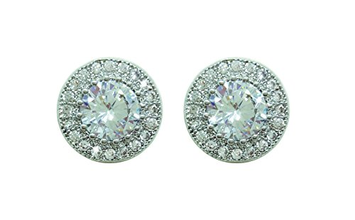 Bailey & Brooke Silver Round Pave Set Surround Set Earrings