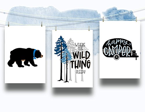 Set of 3 Woodland Animal Nursery Cardstock Prints - 8.5 x11'' Black Bear, Camping, Where The Wild Thing Sleeps, Happy Camper by June & Lucy