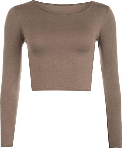 MKL Fashions - Camiseta de manga larga - para mujer moca