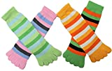 Soft Toe Socks With Assorted Striped Designs,One Size Fits All , Pack of 12