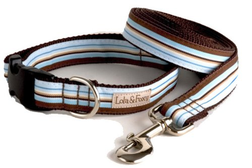 Lola & Foxy Foxy bluee and Brown Stripes Dog Collar, 1  Wide, Medium (10 -16  Neck Size)