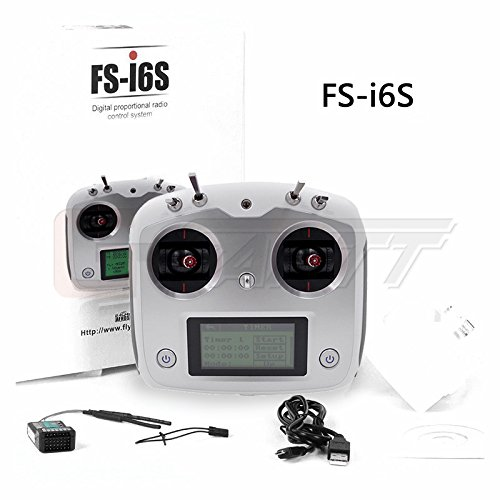 Flysky FS-i6S 2.4G 10CH AFHDS Transmitter With FS-iA6B Receiver Remote Control For Eachine Racer 250 Quadcopter Airplane Color Box Version by GARTT