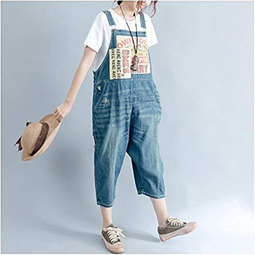 Allentato Blau1 Corti Donna Alta Abbigliamento Hop Bavaglino Jeans Hip Di Lettere Lettering Pantaloni Da Qualità Patch nZ8xzCC