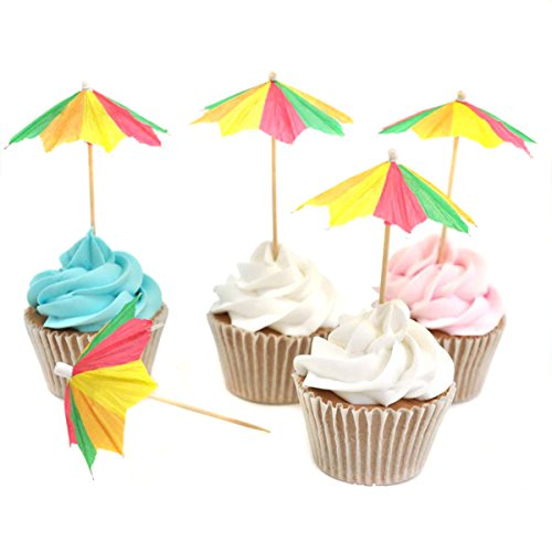 144 Pcs Colorful Cocktail Drink Paper Umbrellas Picks for Drinks - 4 Inch Length - Tropical Cocktail Parasols for Cupcake Hawaiian Party and Pool Party Supplies (B#) ()