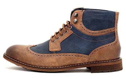 Hombre Casual Botines Estilo Motero Con Cordones Inteligentes Vestido De Fiesta zapatos número GB Marrón/Azul marino