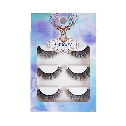 Davocy 3D Mink Lashes, Multipack Demi Wispies Fake Eyelashes, Dramatic False Eyelashes For Woman Makeup, Handmade and Reusable (3 Pairs) ()