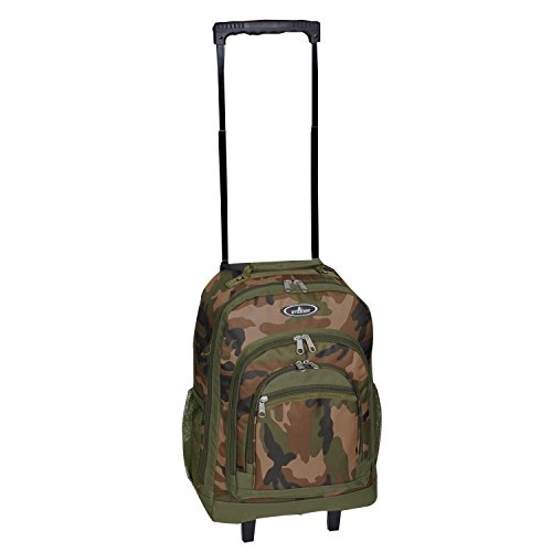 DH Boys Green Brown Camouflage Themed Wheeled Upright Rolling Backpack, Beautiful Army Military Camo Printed, Hunting Theme Wheeling School Bag, Kids Travel Backpack with Wheels, Handle, Fashionable by DH