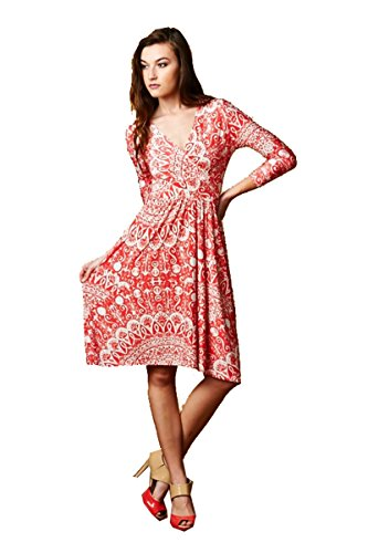 On Trend Paris Dress Floral Bohemian 3/4 Sleeve Short Maxi Dress (Large) Coral