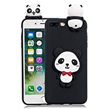 3D Cartoon Animal Case for iPhone 7 Plus,Yobby iPhone 8 Plus Cute Kawaii Pattern Case Slim Soft Flexible Rubber Silicone Shockproof Protective Back Cover-Panda Red Bow