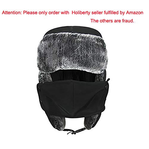Unisex Kids Teens Girls Boys Faux Fur Winter Warm Trapper Hat with Ear Flaps,Windproof Face Mask Fleece Thermal Outdoor Snow Ski Russian Ushanka Cap Trapper Trooper Pilot Aviator Hat Headwear
