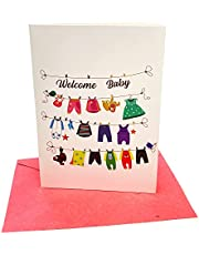 10 New Baby Greeting Cards (5 x 7 Inch) - Big Letters, Newborn Baby Congrats Card for Parents, Baby Shower - Big Welcome