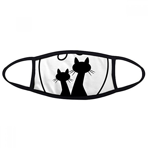 Two Cat Figure Heart-shape Sihouette Protect Animal Pet Lover Face Anti-dust Mask Anti Cold Maske - Face Heartshape