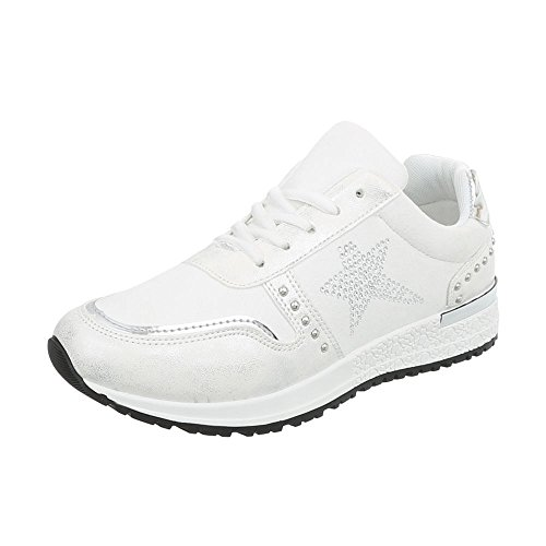 Ital-Design Low Top Sneakers Damenschuhe Kinderschuhe Fashionsneaker Freizeitschuhe Weiß P-17