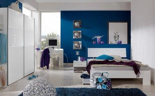lifestyle4living Jugendzimmer in Alpinweiß mit abgesetzten Strasskristallen, 2-TLG. Kleiderschrank B: ca. 179 cm, Bett 140 x 200 cm Liegefläche,