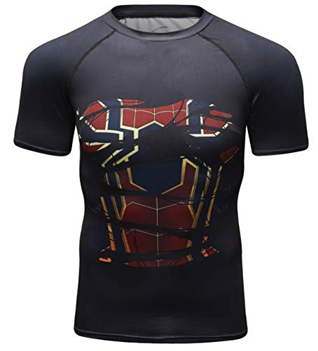 Iron Ant - Red Plume Men's Compression Shirt Short Sleeve Tops Running Ants Base Layers Tee (Iron, L)