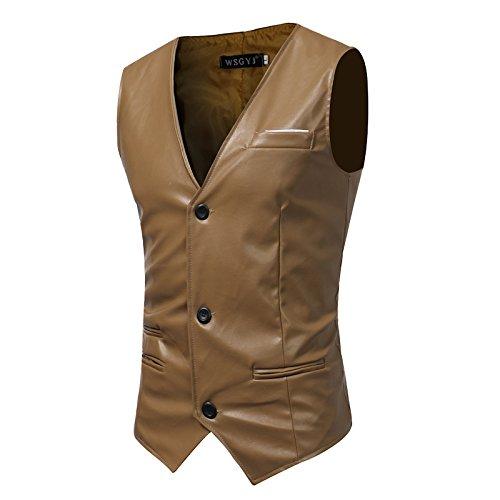 Männer - Slim - Anzug, Weste, Mann ist Einfachheit, self - anbau, pu Haut, Herr Weste,Braun,2XL
