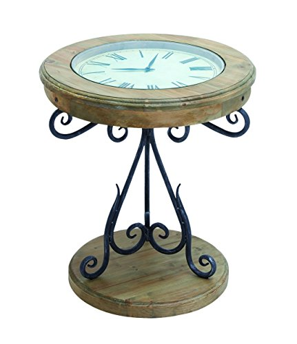 Benzara Table Clock with Innovative Pattern and Elegant - Brown Jorie