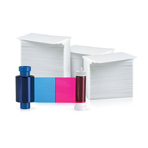 Magicard 300 Print YMCKO 5 Panel Ribbon for Rio Pro/Enduro (MA300YMCKO) and 300 AlphaCard Premium Blank PVC Cards Bundle
