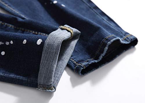 SFSF Jeans de Hombre Bordado Pantalon Recto Cintura Media ...