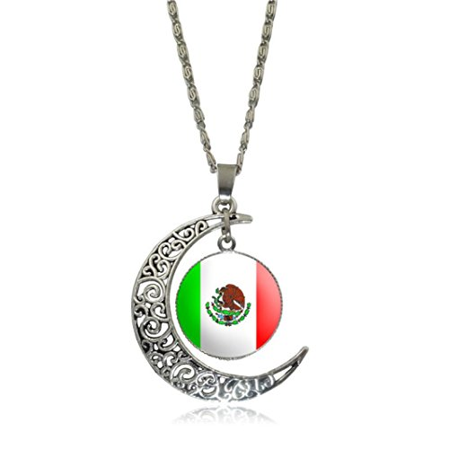 Clearance! Men Women Charm Creative National Flag Hollow Moon Time Gem Pendant Necklace Jewelry (D - Mexico, Alloy)