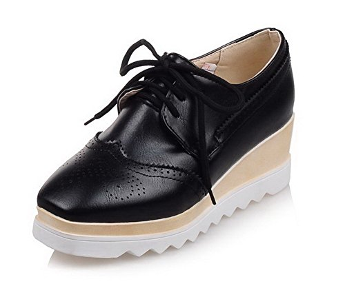 VogueZone009 Women's Soft Material Lace-up Square Closed Toe Kitten-Heels Solid Pumps-Shoes Black s0RNlailJ