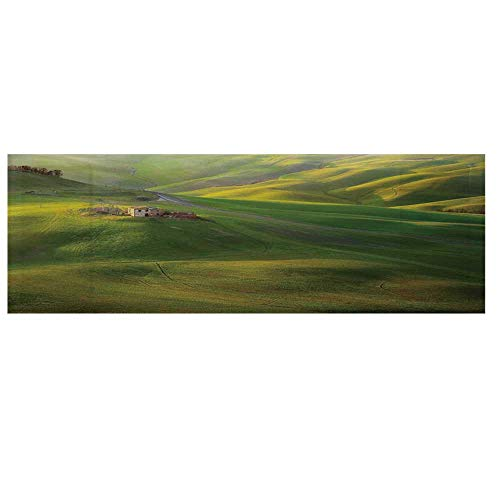 Tuscan Microwave Oven Cover with 2 Storage Bag,Tuscany Hills Sunset Scenery Green Meadow Agriculture Country Farm House Theme Cover for Kitchen,36