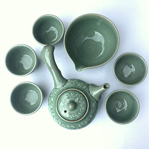 Celadon Teaset Korean 'Arabesque' Gift Boxed/Teapot+5 Cups+sookwoo/Hand-made