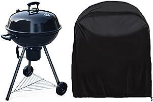 JTDEAL Housse Barbecue(77x 58cm), Rond Housse Bâche de Protection BBQ Couverture Anti-poussière Anti-UV Anti-pluie pour Grill à Gaz ÉlectriqueJardin Patio Weber avec Sac de Rangement(Noir)