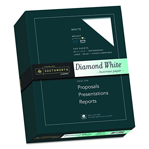 24 Lb White Wove Paper - Southworth Diamond White Business Paper, White, 24 Pounds, 500 Count (31-224-10)