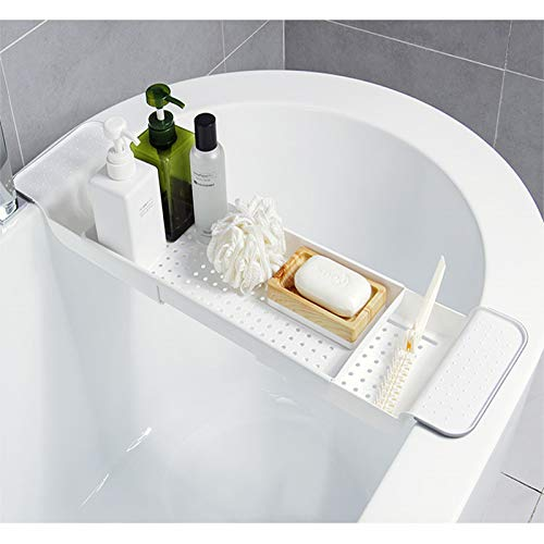 - BROADSEAL Expandable Bathtub Tray,Adjustable Bathtub Caddy Tray and Organizer for Book/Wine/Phone,Washing Colander PP+TPR Material for Vegetable and Fruit (White)