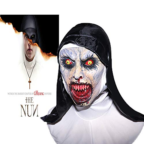 The Nun Mask, Hood Adult Scary Horrible Halloween mask for Women Costume Masquerade ()
