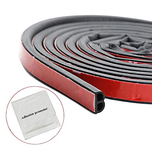 SUNMORN Car Weather Stripping, Self Adhesive Universal Automotive Door Rubber Weather Draft Seal Strip for Car Window Front Door Back Door Hood Trunk B Type, Total 33Ft, with Adhesion Promotor