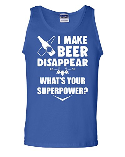 I Make Beer Disappear Tank Top Funny Drinking Superpower Booze Sleeveless Blue 2XL
