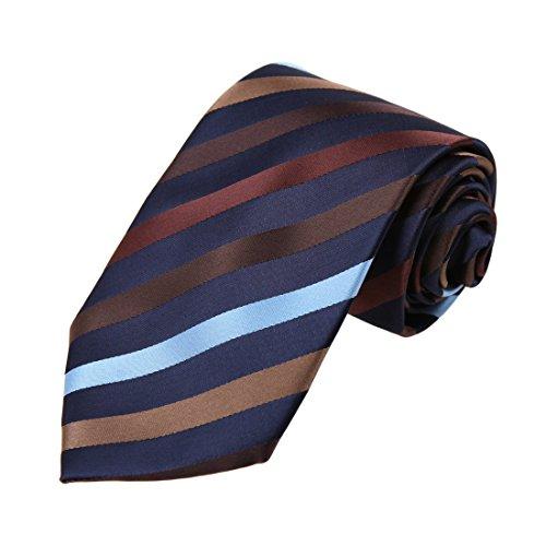 (Dan Smith DAA7A26B Blue Brown Stripes Microfiber Tie Gift Certificate Fashion Neckwear)