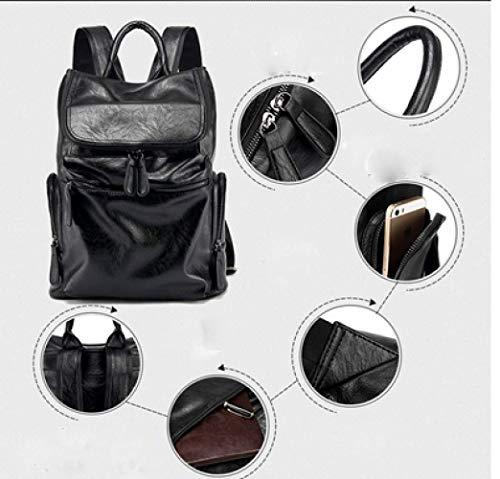 coreana borsa Moda in computer uomo da zaino nera scuola nero pelle xpfpwXn