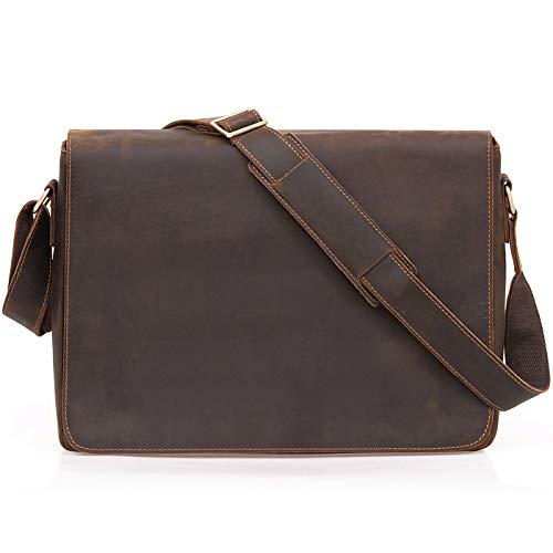 d7d5f375e8 Jack&Chris® Leather Men's Backpack Laptop Bag Messenger Shoulder Bag,  HS14017