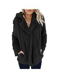 MIOIM Women Winter Warm Faux Fur Fleece Oversized Jacket Coat Fluffy Outwear