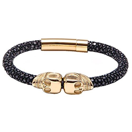 Viya Stingray Skull Bracelet Mens, Luxury Bracelet Make by Genuine Black Stingray Leather Cord Combine with Gold Stainless Steel Skull Heads Bangle (Black&Gold, 8 inches)